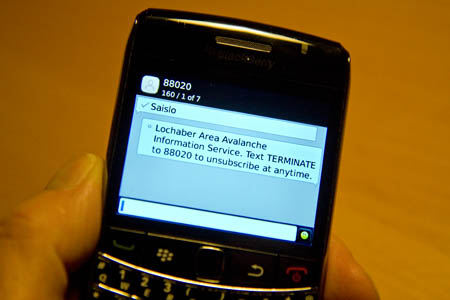 The sportscotland Avalanche Information Service forecasts can now be sent by text to your phone