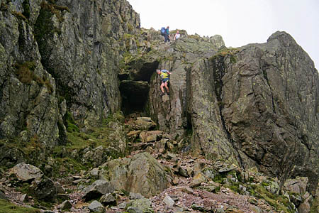 The Bad Step on Crinkle Crags, from where the walkers were rescued