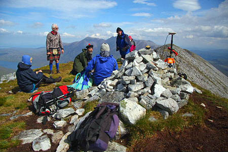 The surveying team on Beinn a'Chlaidheimh. Photo: The Munro Society