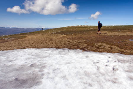 Patches of snow, such as this one on the most northerly munro Ben Hope in June, are common