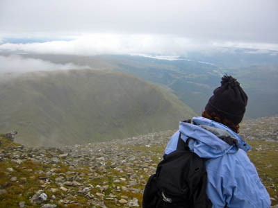 Cloud clears on the summit of Ben Lui: should routes up mountains such as this be waymarked?