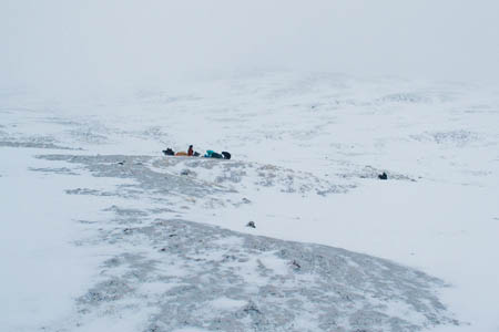 The group of walkers on the hillside, seen from the rescue helicopter. Photo: MoD/Crown Copyright