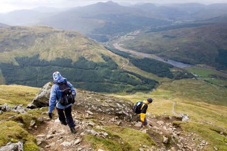 The steep path off the summit of Ben More affords great views of Strath Fillan
