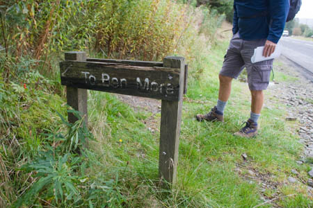 The sign near Benmore Farm that marks the start of the route