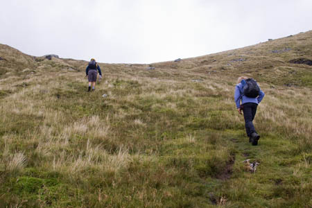The path up the steep slope to the bealach keeps the burn to its left