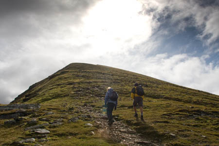 The path up the wedge-shaped Stob Binnein