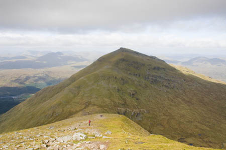 The pyramid of Ben More from the path descending from Stob Binnein to the bealach