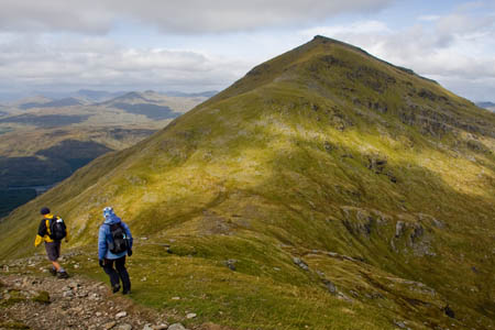 Descending Stob Binnein, with Ben More ahead