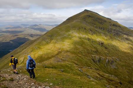 Descending Stob Binnein, with Ben More ahead