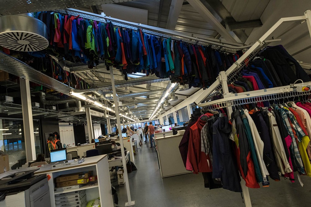 A 'sky rail' carries current and past models of Berghaus garments