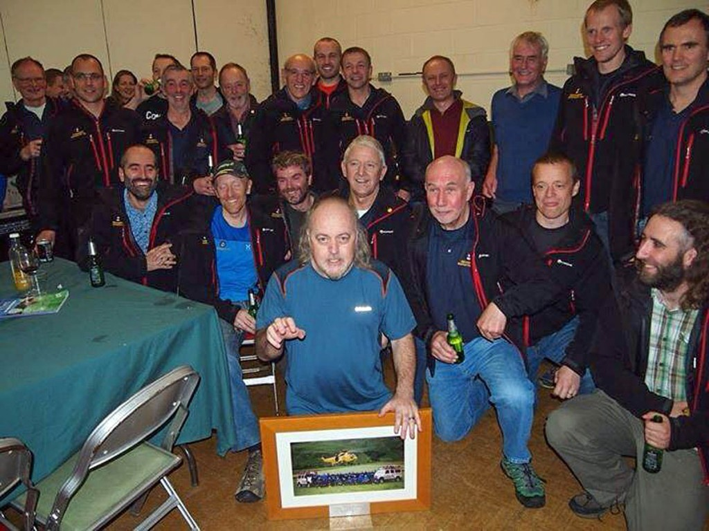 Bill Bailey with Cockermouth team members. Photo: Cockermouth MRT
