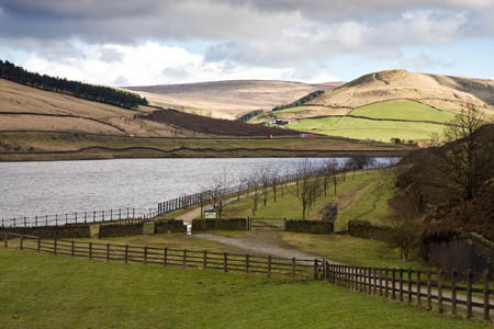 The Longdendale Trail at the old Crowden station, with Woodhead Reservoir in the background