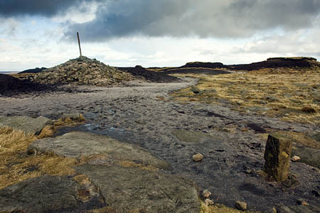 The cairn and post at Bleaklow Head