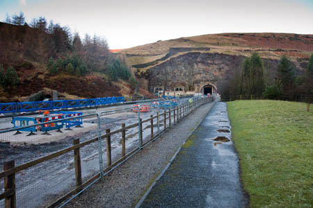 The Woodhead Tunnels' western portals from the old platform of the former Woodhead station on the Longdendale Trail