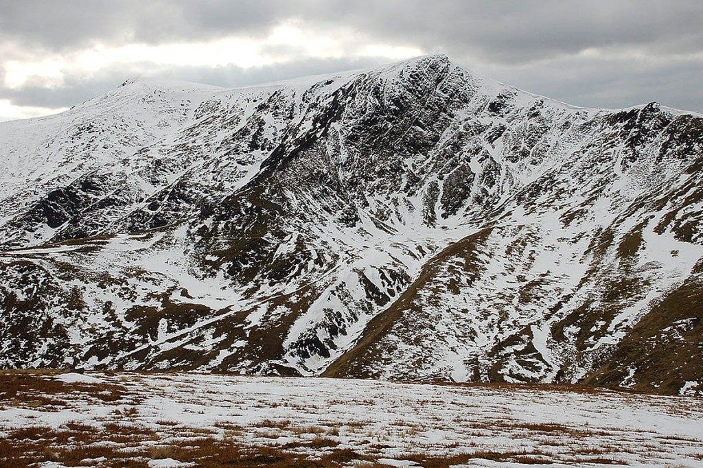 Blencathra, with Sharp Edge and Foule Edge, centre. Photo: Jim Barton CC-BY-SA-2.0