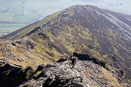 Walkers on Hall's Fell Ridge, Blencathra