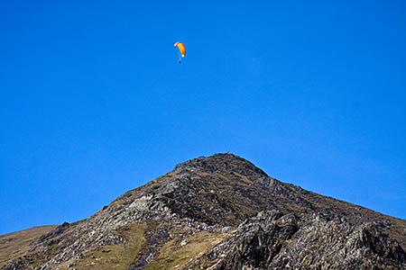 A paraglider above Hall's Fell Ridge on Blencathra