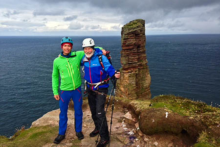 Sir Chris Bonington and Leo Holding prepare for their attempt on the Old Man of Hoy. Photo: Berghaus