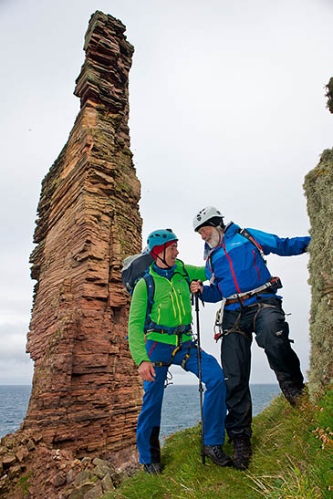 Sir Chris Bonington and Leo Houlding prepare for their Old Man of Hoy climb. Photo: Dave Cuthbertson/Berghaus