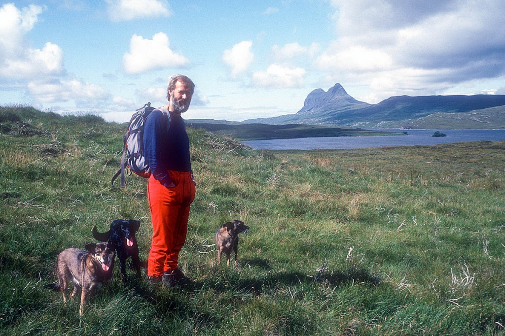 Berghaus chairman Chris Bonington with his dogs Bella, Bodie and Alfie with Suilven in the distance in 1986. Photo: Chris Bonington Picture Library