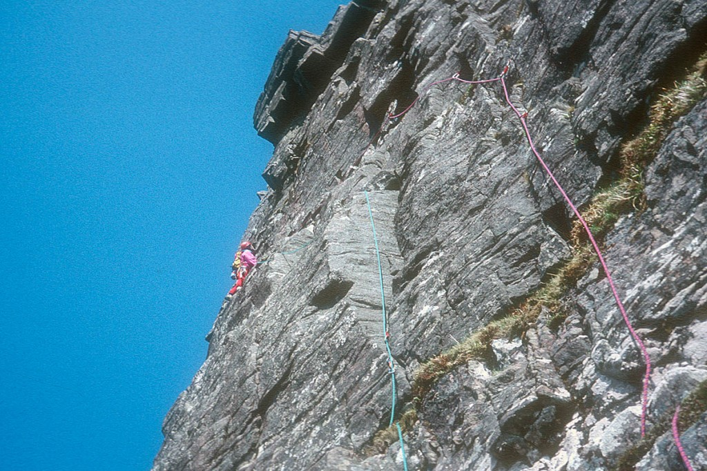 Chris Bonington on the first buttress during the ascent of The Bloom in 1990. Photo: Chris Bonington Picture Library