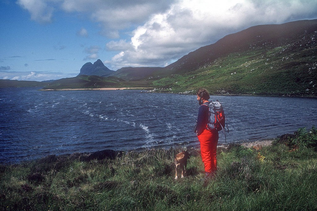 Chris Bonington stands on the shore of Cam Loch in 1986, with Suilven in the background. Photo: Chris Bonington Picture Library