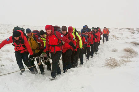 Rescuers in action on Corn Du during the Saturday rescue