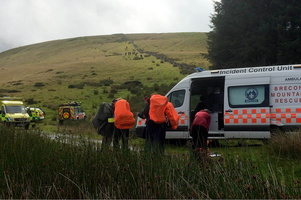 Rescuers at the scene of the Fan Bwlch Chwyth incident. Photo: Brecon MRT