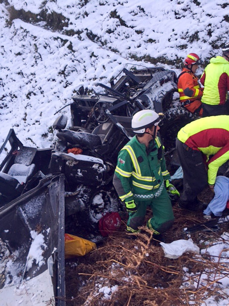 The Land Rover partly disintegrated after sliding down the hillside. Photo:  Brecon MRT