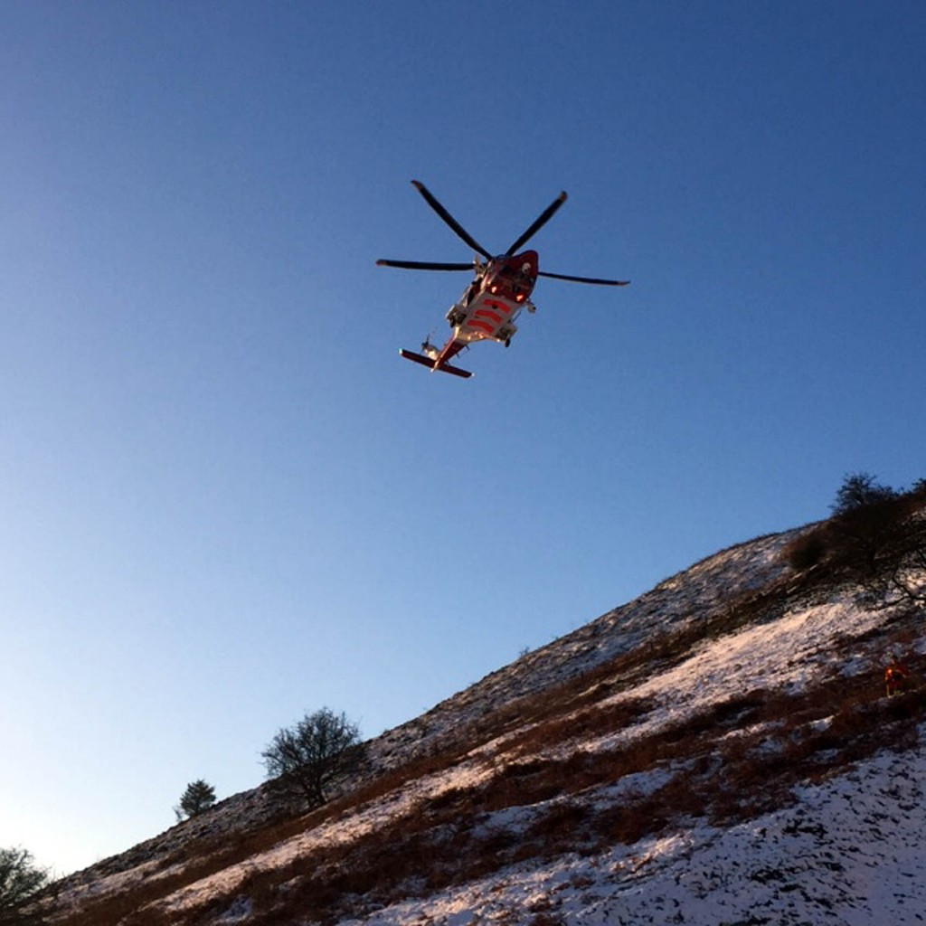 The St Athans Coastguard helicopter flew to the scene. Photo:  Brecon MRT