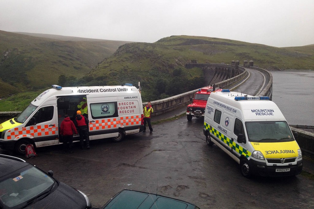 Rescuers at the scene at Claerwen Reservoir. Photo: Brecon MRT