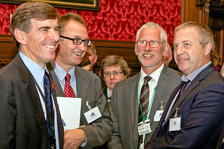 David Rutley MP, Dave Turnbull and Scott Titt of the BMC, and John Mann MP at the launch of Britain on Foot