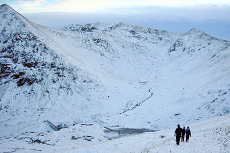 Swirral Edge, centre, linking Catstye Cam, left, with Helvellyn