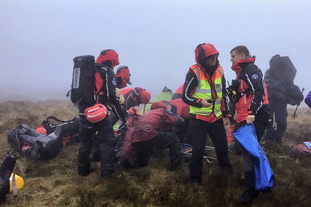 Rescuers at the scene on the Kinder Scout plateau. Photo: Buxton MRT