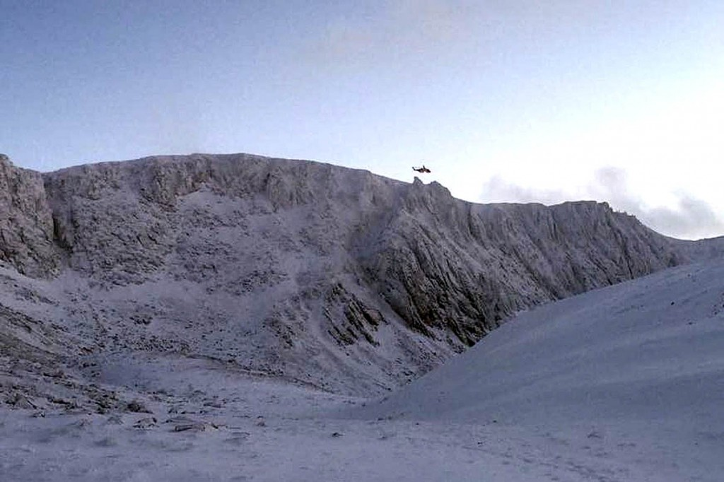 The rescue helicopter winched the climber from Coire an t-Sneachda. Photo: Cairngorm MRT