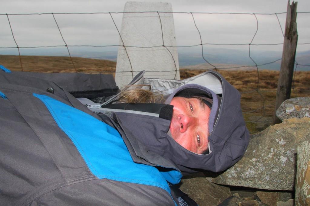 Myrddyn Phillips gets the horizontal view during the survey of Calf Top. Photo: Myrrdyn Phillips