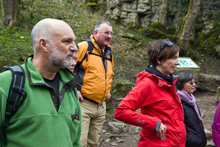 Broadcaster Cameron McNeish with members of the Outdoor Industries Association at Janet's Foss in Malhamdale