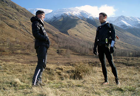 Gary Tompsett, left, and Shane Ohly seen before the latter set off on his 2012 record attempt, which was supported by Tompsett. Photo: Gary Tompsett