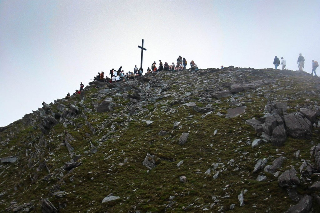 The summit of Carrauntoohil, with the 16ft cross which has now been cut down