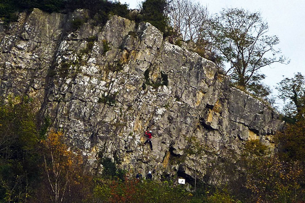 The incident happended at Castleberg crag, overlooking Settle. Photo: Karl and Ali CC-BY-SA-2.0