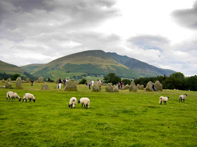 Castlerigg stone circle, with Blencathra in the distance