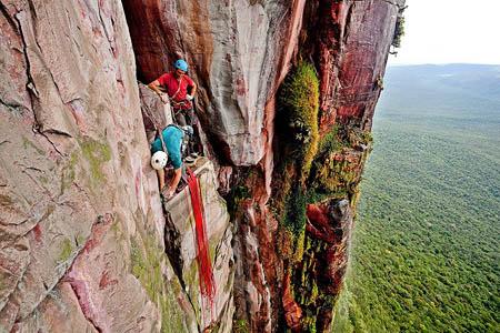 A belay on the Cerro Autana climb. Photo: Alastair Lee