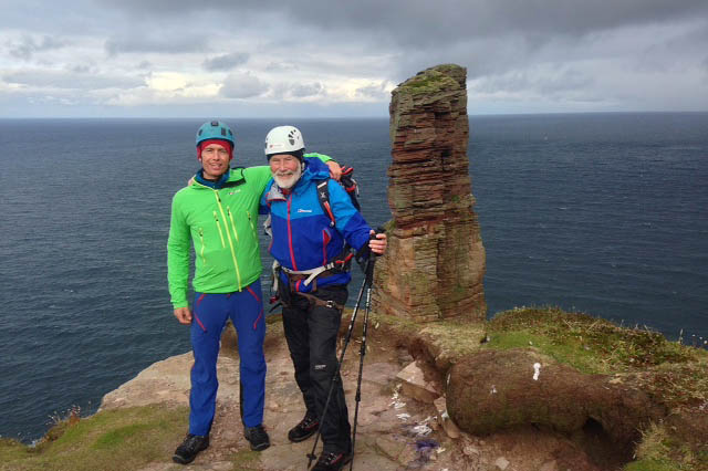Sir Chris Bonington celebrates his 80th birthday with Leo Houlding as they prepare to climb the Old Man of Hoy. Photo: Berghaus