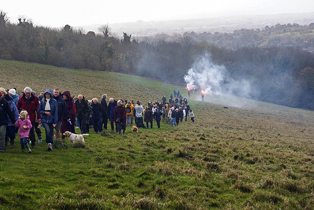 Campaigners take to the downs during the protest in November 2009