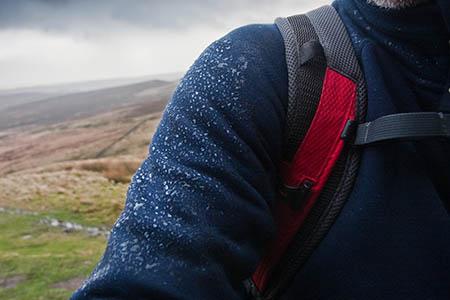 Rain beads on the Climescape fleece