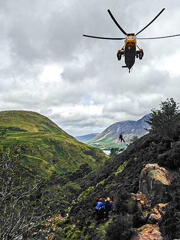 The RAF helicopter in action with Cockermouth Mountain Rescue Team at Scale Force. Photo: Tom Gallagher/Cockermouth MRT