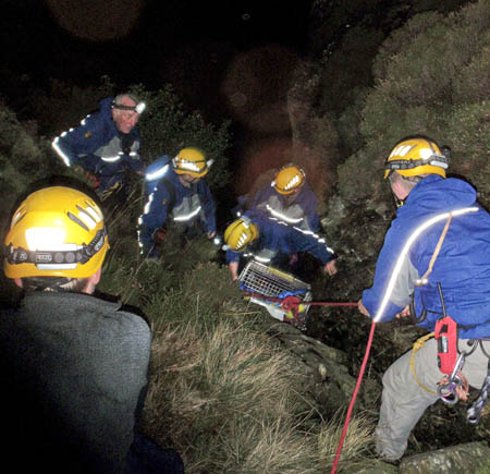 Rescuers in action at the Grasmoor incident. Photo: Cockermouth Mountain Rescue Team