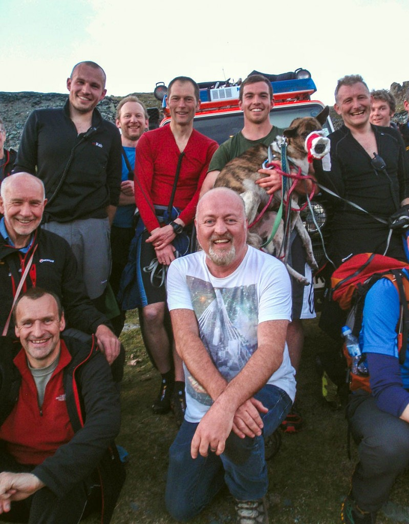 Bill Bailey, centre, with Tiger and Cockermouth team members after being reunited at Dubs. Photo: Cockermouth MRT