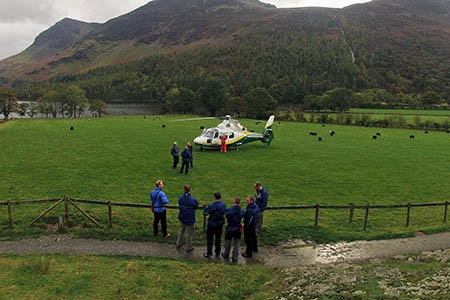 The air ambulance at the rescue scene near Buttermere. Photo: Cockermouth MRT