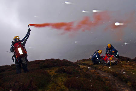Cockermouth team members in the rescue on Fleetwith Pike. Photo: Cockermouth MRT